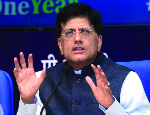 New Delhi: The Union Minister of State (Independent Charge) for Power, Coal and New and Renewable Energy Piyush Goyal addresses a press conference regarding completion of one year of the NDA government in New Delhi, on May 27, 2015. (Photo: Amlan Paliwal/